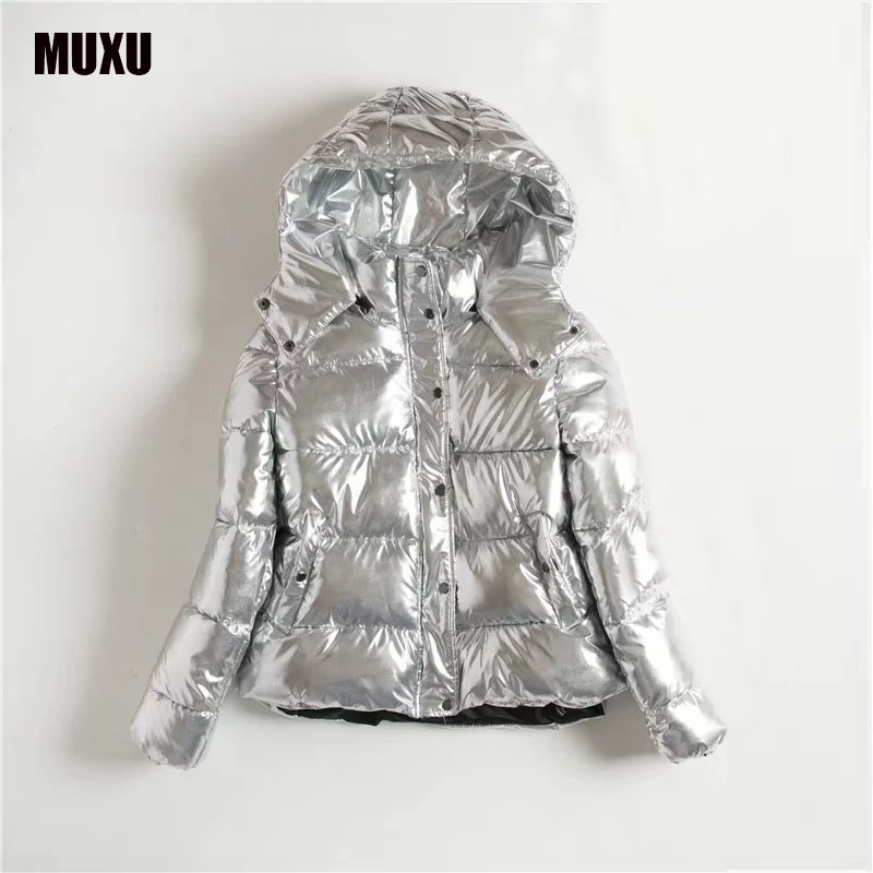 MUXU new Autumn Winter coat Women Basic Jacket Coat Female Slim Hooded Cotton Coats Casual silver  long sleeve ladies Jackets olgitum new autumn winter jacket coat women parka woman clothes solid long jacket slim women s winter jackets and coats cc107