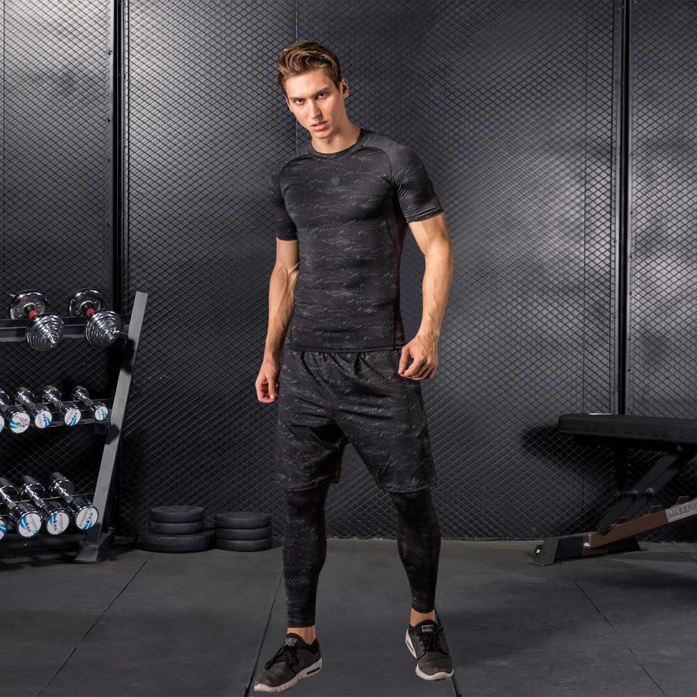 Fannai сжатия Для мужчин спортивные костюмы Быстрая прилегающие быстросохнущие лосины для бега комплекты Леггинсы Спортивные тренировка бега трусцой спортивные костюмы для фитнеса комплект ММА