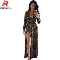 Europe Summer Style 2016 New Women Dress V Neck Long Dress Sexy Nightclub Split Leopard Print
