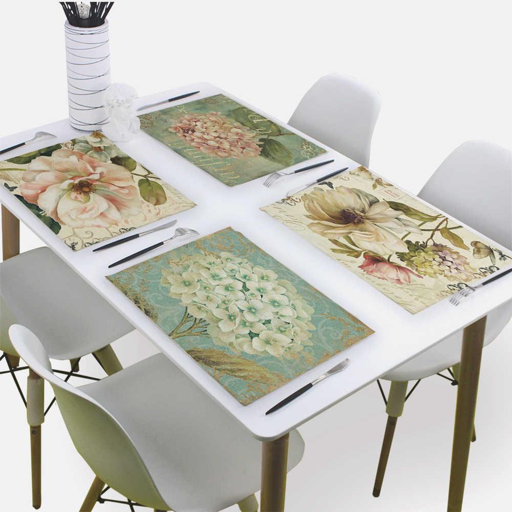 Serviette de fleurs serviettes en tissu torchons 43*32Cm rétro tissu serviettes Table hôtel Restaurant Table de mariage tapis Serviette