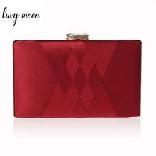 Women Wedding Clutch Purse and Handbag Elegant Silk Red Evening Bag Chain Handbag Fashion Women Shoulder Bag  ZD1101