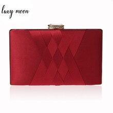 Женский Свадебный клатч ZD1101, Элегантная Шелковая Красная вечерняя сумочка на цепочке, модная дамская сумка на плечо