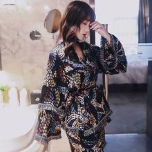 ฤดูร้อน 2019 ชุดนอนใหม่ชุดหลวมเสื้อ \ \ \ \ \ \ \ \ \ \ \ \ \ \ \ \ \ Comfort ผ้าไหมชุดนอนเสื้อ + Camisole + กางเกงขาสั้น 3 pcs ชุด Homewear นุ่ม