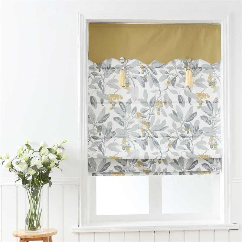 SunnyHouseware Rural Summer fruit Blackout Cotton Linen Printed Roman curtains and curtain track for lving room