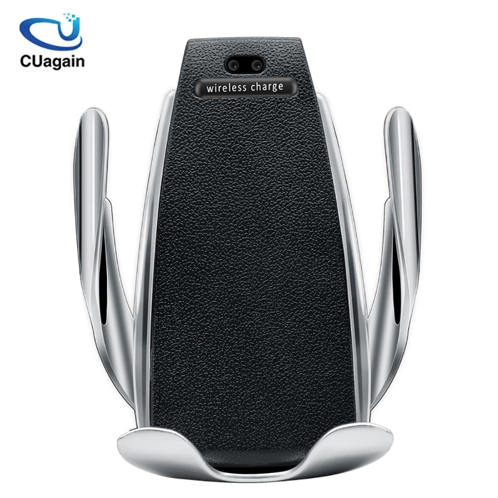 Cargador de coche inalámbrico 10 W S5 sujeción automática soporte de teléfono de carga rápida montaje en coche para iPhone xr Huawei Samsung teléfono Inteligente