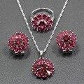 Nuevo Estilo de La Flor de Rose Red Creado Rubí Wedding Bride 925 Aretes de Joyería de Plata/Colgante/Collar/Anillo para Las Mujeres TZ48