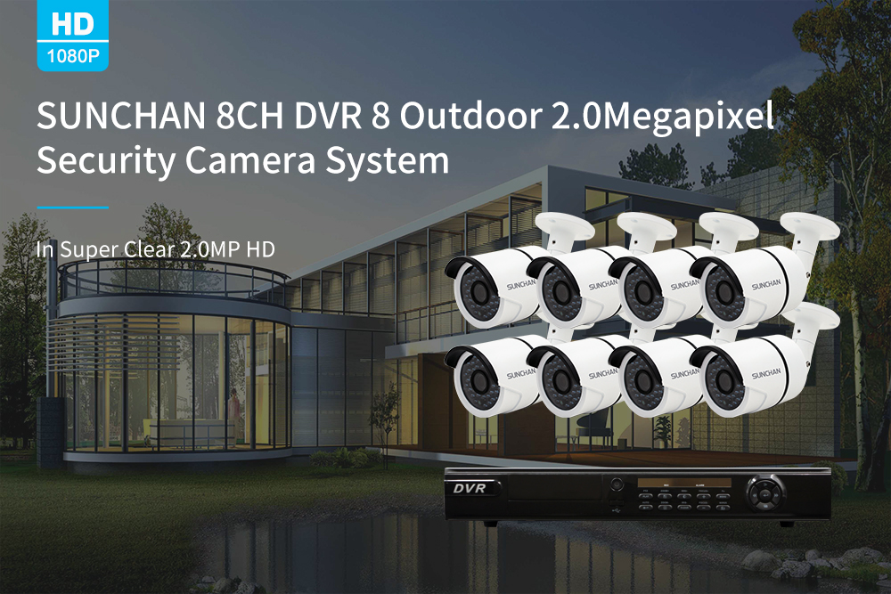 8CH 1080P AHD Outdoor Camera Home Security DVR System