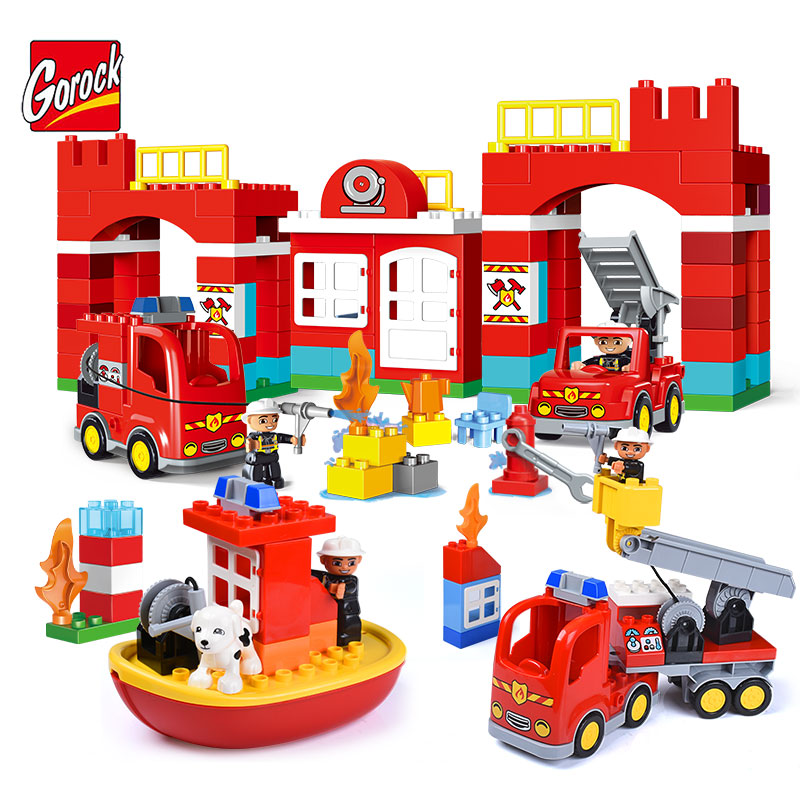 Gorock Large Particles City Fire Station Series Building Block Model Large Size Fire Truck Fireman Brick Toy Compatible Duplo umeile brand farm life series large particles diy brick building big blocks kids education toy diy block compatible with duplo