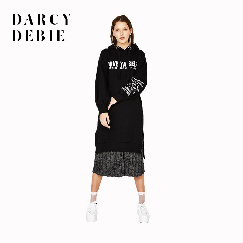 Darcydebie Women Loose Alphabet Printed Dress 2018 Autumn New Money Sweater Sides Split Long Sleeve Halter Preppy Style