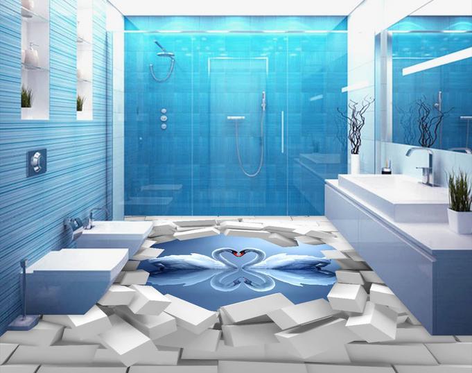 Custom 3d Pvc Flooring Waterproof Bedroom Wallpaper Brick Swan Reflection Stereoscopic Floor Tiles Self