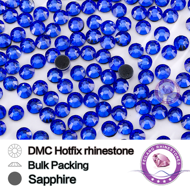 Sapphire SS6 SS10 SS16 SS20 SS30 Bulking Packing HotFix Rhinestone For Garments Bags And Shoes