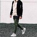 Calça casual homens moda hip hop zíper aberto side skinny lápis calças calças desportivas sweatpants pants exército verde