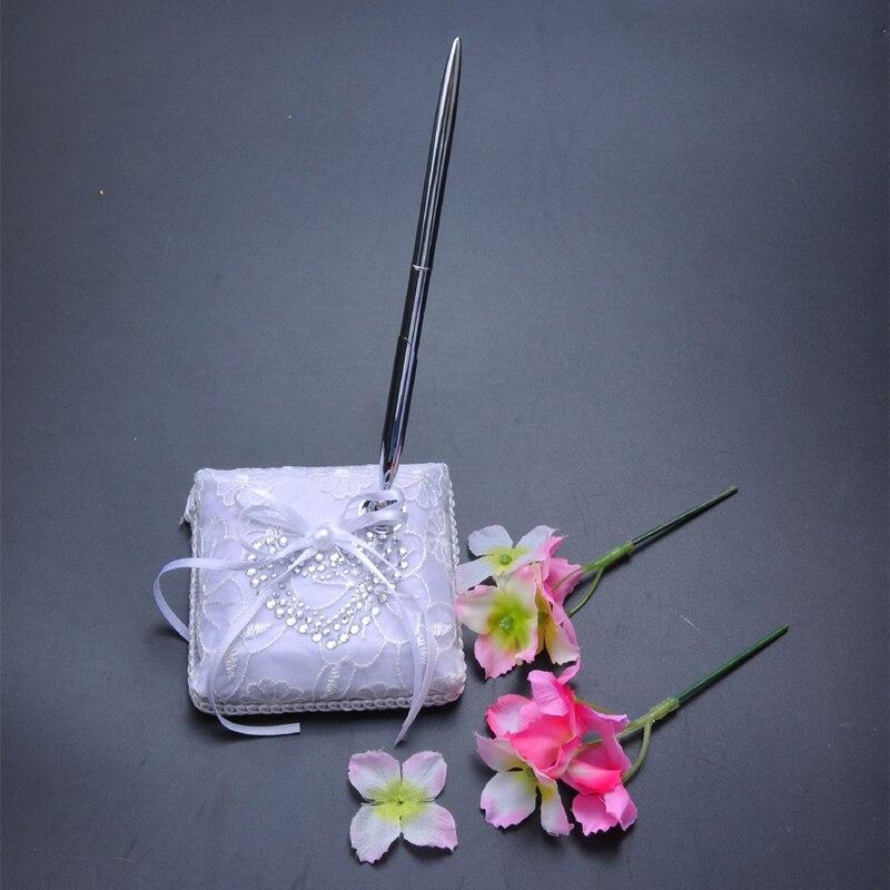 5 pièces/ensemble accessoires de décoration de mariage Satin anneau de mariage oreiller + panier de fleurs + livre d'or + ensemble de stylo + jarretière - 5