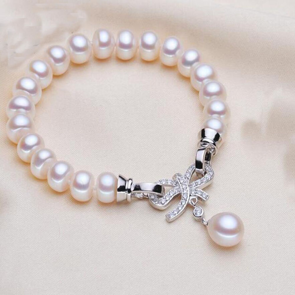 New Classic Women's Freshwater Pearl Bracelet  S925 Sterling Silver Button Weddings Bracelets With Rice Pendant  Fine Jewelry