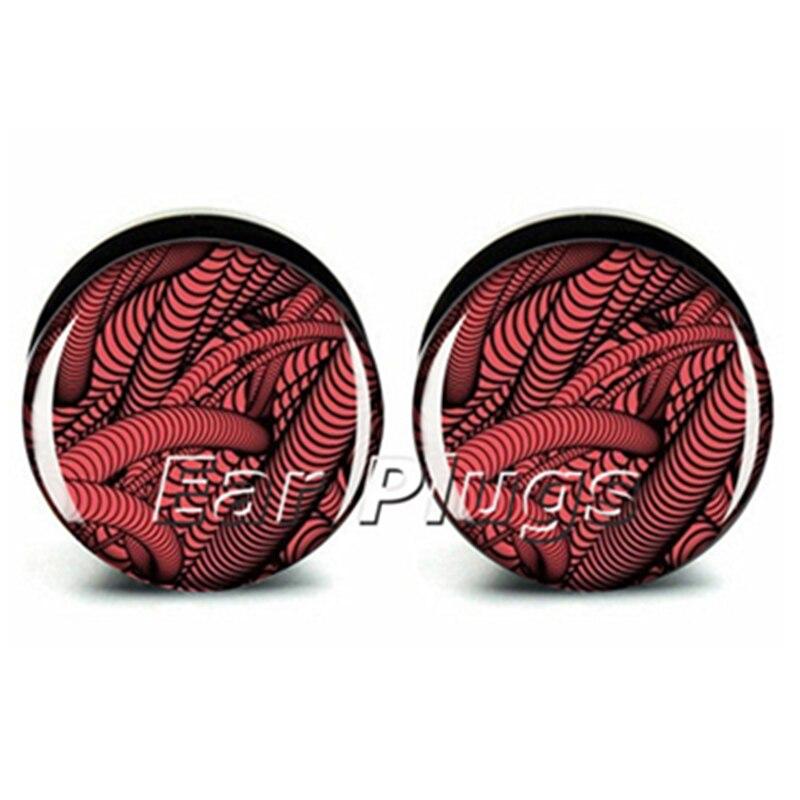 1 pair red pipe Plugs ear plug gauges tunnel acrylic screw flesh tunnel body piercing jewelry