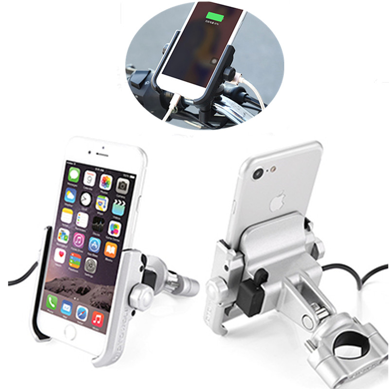 Universal Motorcycle Bicycle 360 Degree Rotation Handlebar Mount Phone Holder With USB Charger For iPhone X