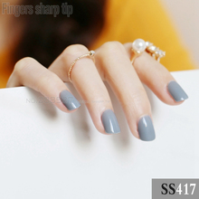 2017 new 24pcs false nails Ink blue Gray candy short paragraph round square head comfortable multicolor all wrapped SS417