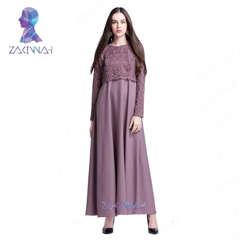 Yeni İslam Abaya Dantel Elbiseler Kadın Kaftan Kaftan Malezya - Ulusal Kıyafetler - Fotoğraf 2