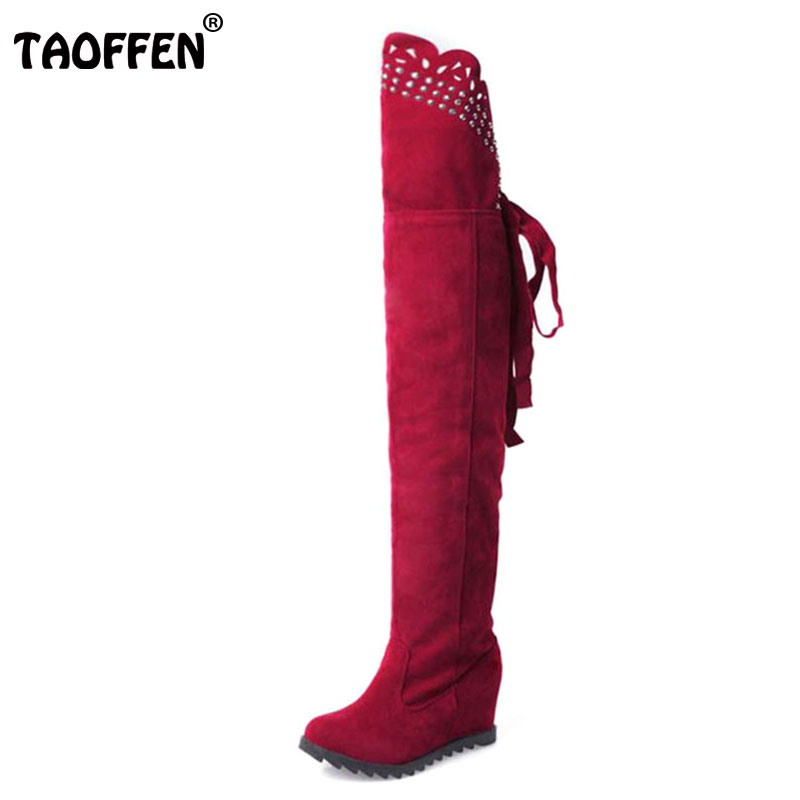 TAOFFEN Casual Flats Womens Autumn Winter Soft Elastic Nubuck Suede Fold Over Knee High Boots Lace-up Shoes Women Size 34-39
