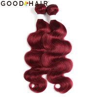 Peruvian Hair Body Wave Bundles Red Color 100% Human Hair Weave Extension Pre Colored Weave 1/2 Pcs Non Remy 8 26 GOOD HAIR