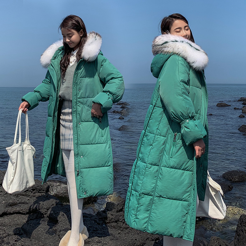 Down cotton fur coat women's long 2019 new winter jacket women loose cotton hooded jackets female outerwear(China)