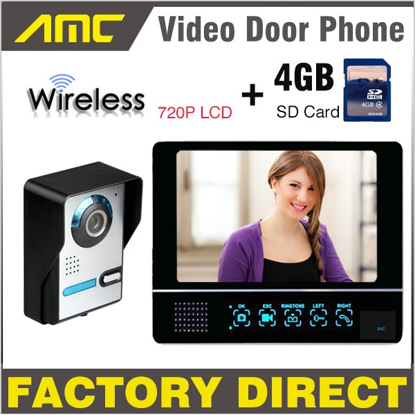 Wireless Video Door Phone Intercom Doorbell record System, 4G SD Card Recording 7 inch LCD Monitor 720P night vision Camera 7 inch video doorbell tft lcd hd screen wired video doorphone for villa one monitor with one metal outdoor unit night vision
