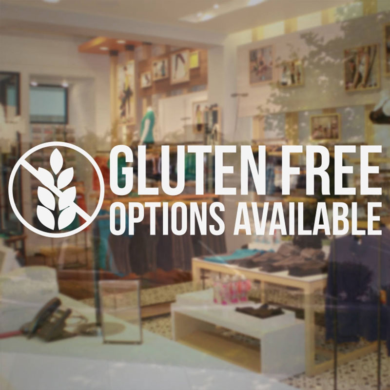 Gluten Free Options Available Quotes Cake Shop Bakery Dessert Shop Business Sign - Vinyl Decal Sticker Waterproof Murals BS10 image