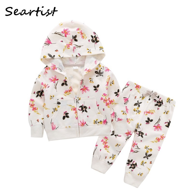 Seartist 2018 New Baby Girl Clothes Girls Hoodies Set Autumn Hooded Floral 2Pcs Sets Hoodies+Pants Kids Girls Clothing Set 48G 2016 brand new high quality fashion girls clothing sets bow hoodies flower mini tutu skirt 2pcs autumn spring baby kids clothes