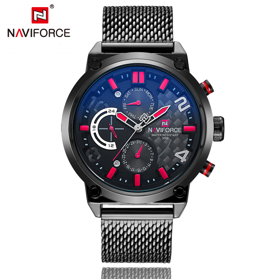 NAVIFORCE Luxury Brand Fashion Casual Watches Mens Full Stainless Watch Mesh Band Business Men Hour Quartz Wristwatch Male Clock rosra brand men luxury dress gold dial full steel band business watches new fashion male casual wristwatch free shipping