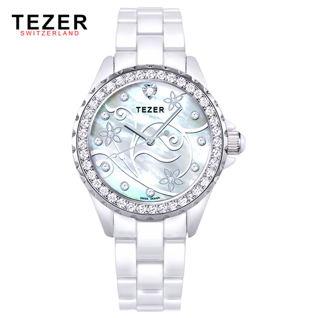 TEZER Ms. watch fashion ceramic table female table quartz watch T5002L