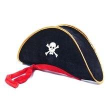 2018 Halloween Cosplay cráneo capitán pirata sombrero poliéster Corsair Cap  trajes fiesta 3a61563c36e