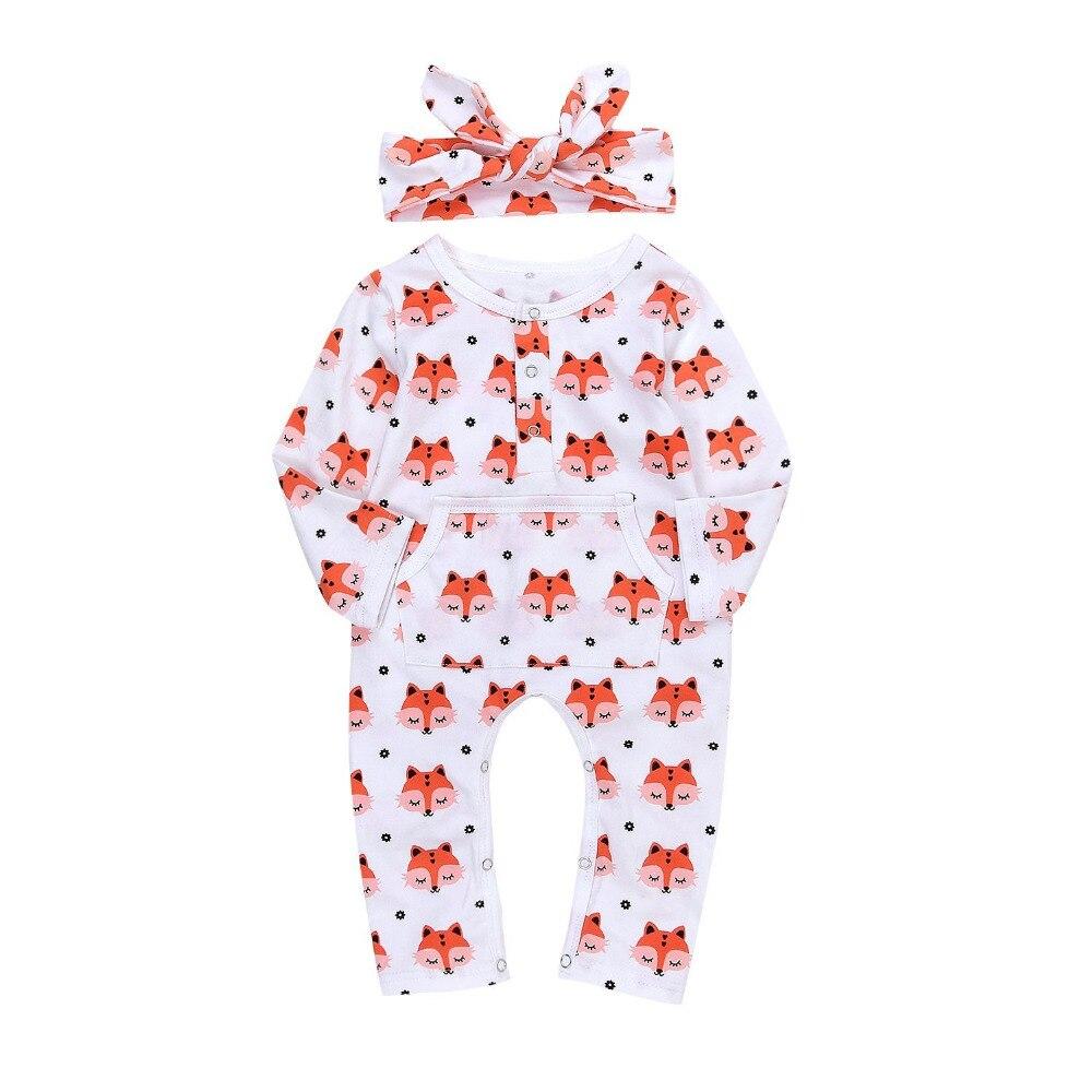 Cute Baby Boys' Girls' Cute Fox Romper Jumpsuit Pajamas ...