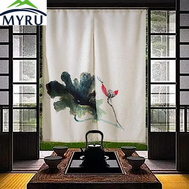 MYRU China Lotus Chinese Ink Painting Door Curtain Japanese Feng Shui Curtains  Door Curtain Free Shipping
