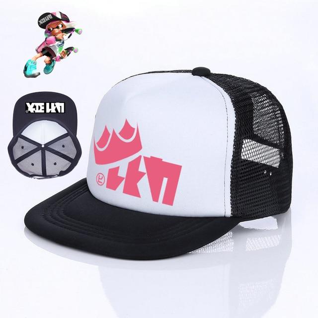 4805898a158 Japanese Game Cosplay Splatoon 2 Cap 6 Colors King Flip Trucker Hat Inkling  Girl Boy Cool Enperry Mesh Cap Red Blue Purple YF005