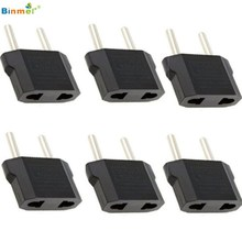 Binmer Superior Quality 6pcs Round American to European US to EU Outlet Plug Adapter