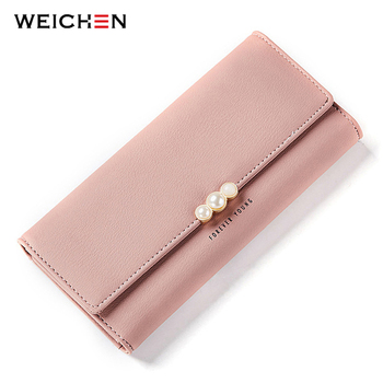 Pearl Element Women Wallets Credit Card Purse Cell Phone Pocket Ladies Clutch Bag Red Soft Leather Long Female Wallet Carteira