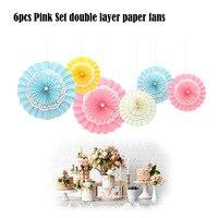 6 teile/satz Geburtstag Party Dekoration Rosa Spitze Papier Fan Baby Dusche Hängen Dekor Hochzeitsbankett Gemischte Größe Papier Handwerk