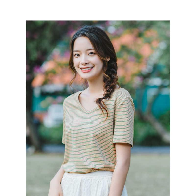 INMAN, лето 2019, Новое поступление, v-образный вырез, в полоску, корейская мода, повседневная, Студенческая, подходит ко всему, тонкая, свободная, короткий рукав, женская футболка