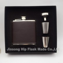 50set  Dark Brown or Light Brown   Genuine leather hip flask 6 oz with screw cap and 2 shot glass and funnel in gift box