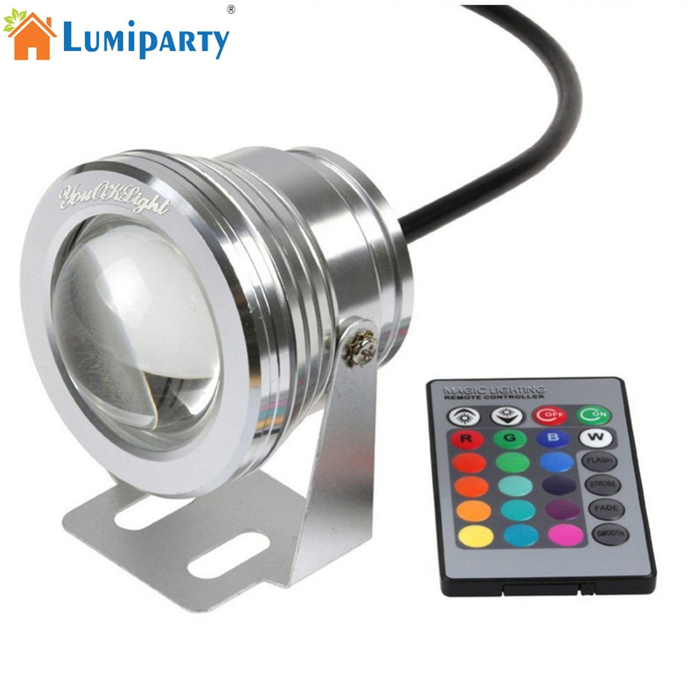 LumiParty IP65 Waterproof LED Lamp with Remote Control Spot Lamp Colourful Underwater Light Swimming Pool Pond Fountain Aquarium