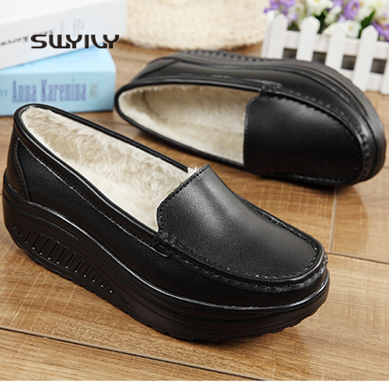 SWYIVY Women Winter Warm Shoes Plus Velvet Lady Toning Swing Shoes 2018 New Wedge Leather Height Increasing Female Slimming ShoeSWYIVY Women Winter Warm Shoes Plus Velvet Lady Toning Swing Shoes 2018 New Wedge Leather Height Increasing Female Slimming Shoe