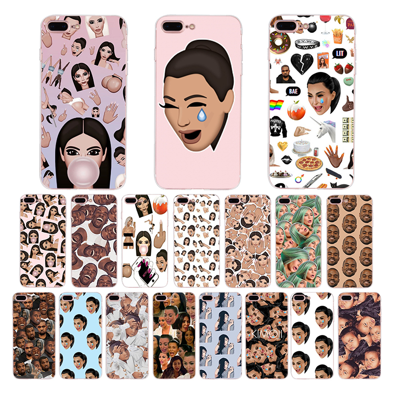 Kimoji Kim Kardashian kanye west north kylie jenner Soft TPU phone case for iphone 6s 6 7 8 plus x xr xs max 5 5s se cover shell in Half wrapped Cases from Cellphones Telecommunications
