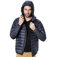 2017 Winter Jacket Men Ultra Thin Light 90 Duck Hooded Down Jacket Collar Solid Jacket For