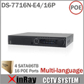 Newest HIK DS-7716N-E4/16P 16CH NVR with 16 POE Interface IP Camera Network Video Recorder 4SATA for HDD Multi-language