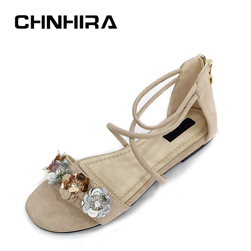 CHNHIRA Glitter Gladiator Sandals 2017 New Summer Flats Suede Shoes Woman Slip On Platform Casual Women Shoes #CH415 phyanic casual gladiator sandals 2017 silver creepers platform summer shoes woman slip on flats casual women shoes phy4043