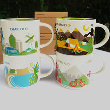 Global Collection  Ceramic City Cup USA Bone china Mug New York Los Angeles Pairs London England Japan orleans Las Vega