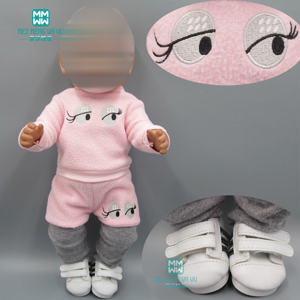 Baby Clothes For Doll Fit 43cm Toy New Born Doll And American Doll Clothes Pink Casual Suit
