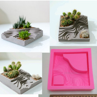Square Building With Stairs Shape Concrete Silicone Mold Cement Clay Crafts Succulent Plants Pot Gypsum Plaster Silicone Molds