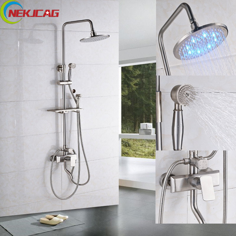 Brushed Nickel Bath Shower Single Handle Faucet 8 10 12 16 LED Head Shower Brass Sprayer Hand Shower Bidet Faucet with Mixer