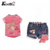 Retail 2016 New Kids Clothes Girls Clothes Next Kids Clothes Children Summer Girls Cartoon Denim Shorts